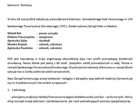 List nowego Zarządu Koła