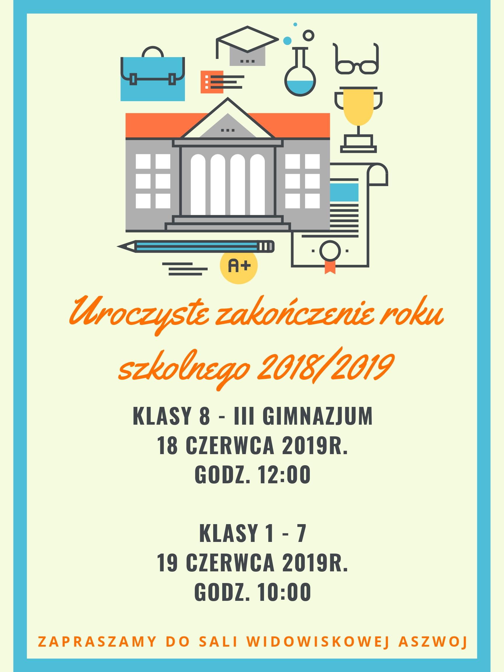 Uroczyste zakończenie roku szkolnego 2018_2019