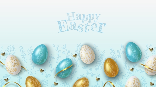 Easter greeting background with realistic golden, blue and white Easter eggs